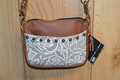 Western Leather Cell Phone Hip Bag Purse Cream Oak Leaf  #6