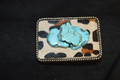 Western Leopard Belt Buckle Three Turquoise Slab