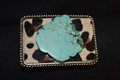 Western leopard Belt Buckle Large Turquoise Slab