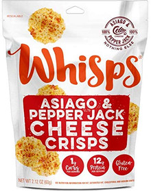 Whisps Asiago & Pepper Jack Cheese Crisps- Keto Snack, No Gluten, No Sugar, Low Carb, High Protein