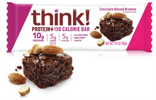 think! Protein+ 150 Calorie Bars - Chocolate Almond Brownie, 10g Protein, 5g Sugar, No Artificial Sweeteners, Gluten Free, GMO Free, 1.4 oz bar
