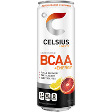 CELSIUS BCAA +Energy Sparkling Post-Workout Recovery & Hydration Drink, Blood Orange Lemonade, 12oz. Slim Can