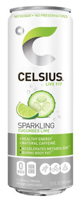 CELSIUS Sweetened with Stevia Sparkling Cucumber Lime Fitness Drink, Zero Sugar, 12oz. Slim Can