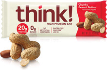 think! High Protein Bars - Chunky Peanut Butter, 20g Protein, 0g Sugar, No Artificial Sweeteners, Gluten Free, GMO Free, 2.1 oz bar