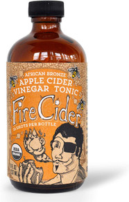 Fire Cider, 8 oz, African Bronze flavor, Apple Cider Vinegar Tonic, Pure & Raw, All Certified Organic Ingredients, Not Heat Processed, Not Pasteurized, Paleo, Keto, Whole 30, 16 Shots.