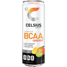 CELSIUS BCAA +Energy Sparkling Post-Workout Recovery & Hydration Drink, Tropical Twist, 12oz. Slim Can