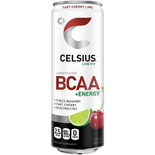 CELSIUS BCAA +Energy Sparkling Post-Workout Recovery & Hydration Drink, Tart Cherry Lime, 12oz. Slim Can