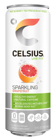 CELSIUS Sweetened with Stevia Sparkling Grapefruit Fitness Drink, Zero Sugar, 12oz. Slim Can