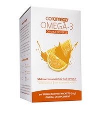 Coromega Omega-3 Supplement, Orange Flavor, Squeeze Packets, 90 Sachets