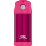 Thermos FUNtainer Stainless Steel Insulated Pink Water Bottle w\/Straw - 12oz