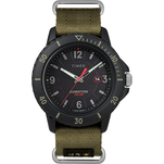 Timex Gallatin Nylon Slip-Thru Watch - Solar Green\/Black Dial