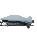 Carver Performance Poly-Guard Styled-to-Fit Boat Cover f\/19.5 V-Hull Runabout Boats w\/Windshield  Hand\/Bow Rails - Grey
