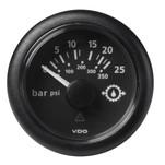 "VDO Marine 2-1\/16"" (52mm) ViewLine Transmission Oil Pressure 25 Bar\/350 PSI - 8-32V - Black Dial  Round Bezel"
