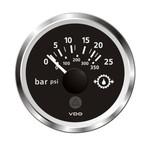 "VDO Marine 2-1\/16"" (52mm) ViewLine Transmission Oil Pressure 25 Bar\/350 PSI - 8-32V - Black Dial  Chrome Triangular Bezel"