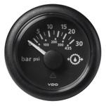 "VDO Marine 2-1\/16"" (52mm) ViewLine Transmission Oil Pressure 30 Bar\/435 PSI - 8-32V - Black Dial  Round Bezel"