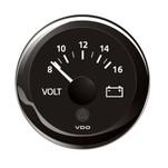 "VDO Marine 2-1\/16"" (52mm) ViewLine Voltmeter - 8-16V - Black Dial  Bezel"