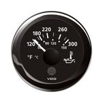 """VDO Marine 2-1\/16"""" (52mm) ViewLine Temperature Gauge 120-300F - 8-32V - Black Dial  Bezel"""