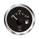 """VDO Marine 2-1\/16"""" (52mm) ViewLine Fuel Level Gauge 0-1\/1 - 8-32V - 3-180 OHM - Black Dial  Chrome Triangular Bezel"""