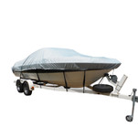 Carver Flex-Fit PRO Polyester Size 3 Boat Cover f\/Fish  Ski Boats I\/O or O\/B  Wide Bass Boats - Grey