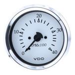 """VDO Cockpit Marine 85MM (3-3\/8"""") Diesel Tachometer - 4000 RPM - White Dial\/Chrome Bezel"""