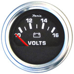 "Faria 2"" Voltmeter (10-16 VDC) Unlit 12V Black w\/Stainless Steel Bezel  Orange Pointer - Case of 24"