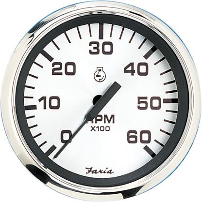 "Faria 4"" Tachometer (6000 RPM) Gas (Inboard  I\/O) - Spun Silver"