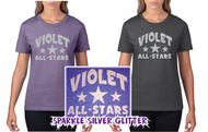 Violet Silver Glitter Womens Lightweight Tee