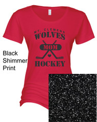 "Enza Ladies Essential ""Hockey MOM"" Glitter tee"