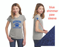 LAT® Girls' Fine Jersey Tee with Blue Shimmer Paw on Sleeve (scroll over images to see Sizing Chart)