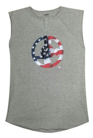 Meals On Wheels Sleeveless Muscle Tee American Flag Design