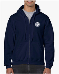 .Gildan Heavy Blend Full Zip Hooded Sweatshirt with Left Chest & Full Back Screen Printed Logo