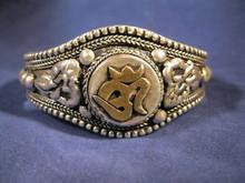 Handmade Metal Om Symbol Bracelet from Nepal