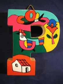 Handmade the Letter P from La Palma, El Salvador