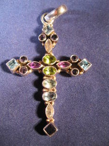 Sterling Silver Cross w/ mix stones from Taxco, Mexico