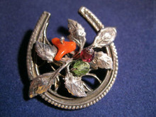 Sterling Silver Horseshoe Shaped Brooch with Stones