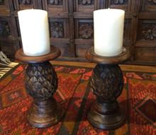"""Candle & Solid Hardwood Handcarved 9"""" Pineapple Shape Candleholder Set of 2"""