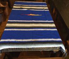 Mexican Blanket 3 lbs Heavy Weight Diamond Design Blue Black Stripe Yoga
