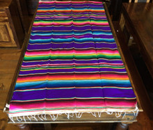 "Satillo or Serape Style Acrylic Mexican Blanket 1.2 lbs 37"" by 72"" Purple Yoga"