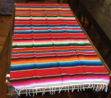 "Satillo or Serape Style Acrylic Mexican Blanket 1.2 lbs 37"" by 72"" Red Multi"