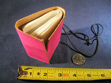 Mini Hand Made Leather Journal with Hand Made Paper Pink Rose Color