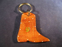 Key Chain Hand Made of Leather in the Shape of a Cowboy Boot from Mexico