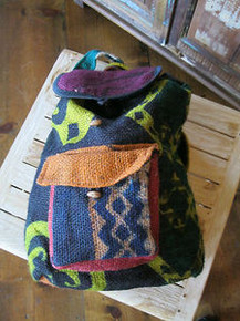 Guatemalan Jute Coffee Bag Material Made into a Back Pack Recycled
