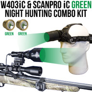 Wicked Lights W403iC and ScanPro iC Green Night Hunting Light and Headlamp Combo Pack thumbnail