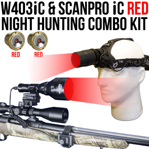 Wicked Lights W403iC and ScanPro iC Red Night Hunting Light and Headlamp Combo Pack thumbnail