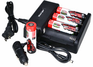 Wicked Lights 21700 4-Position Charger with 4-Pack 21700 Li-Ion Rechargeable Batteries