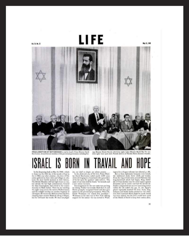 LIFE Magazine - Framed Historic Page - 1948 Israel's Declaration of Independence