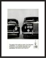 LIFE Magazine - Framed Original Ad - 1964 VW Bug & Rolls Royce