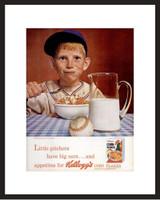 LIFE Magazine - Framed Original Ad - 1965 Kellogg's Cornflakes - Baseball