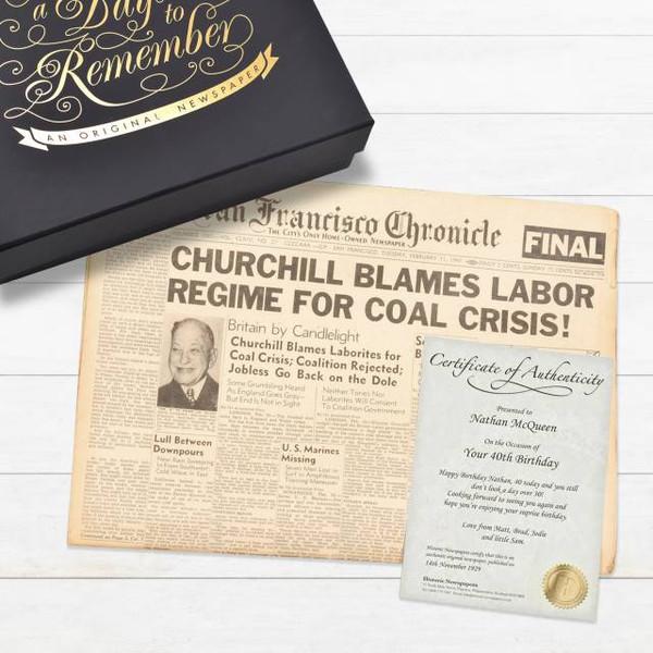 Historic Newspaper in Elegant Keepsake Case