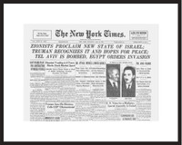 New York Times - Framed Historic Reprint - 1948 Israel's Declaration of Independence